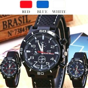 GT Sports Men's Watch Boys Smart Quartz Analog Silicone Stainless Steel-Black