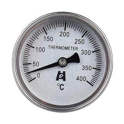 Edelstahl Back Brat Pizza Grill Ofen Bimetall Zeiger Thermometer 400 °C Grad