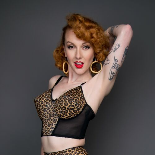 129 non-wired lightly padded longline leopard print bra all sizes NEW
