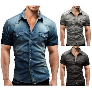 Luxury-Mens-Short-Sleeve-Denim-Washed-Shirts-Casual-Slim-Cotton-Multicolor-AD168