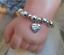 """REBORN BABY DOLL/OOAK BRACELET 15""""- 19"""" SILVER MADE WITH LOVE CHARM"""