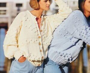 Ladies-Cardigan-Knitting-Pattern-Cotton-Aran-Chest-30-42-in-BR197