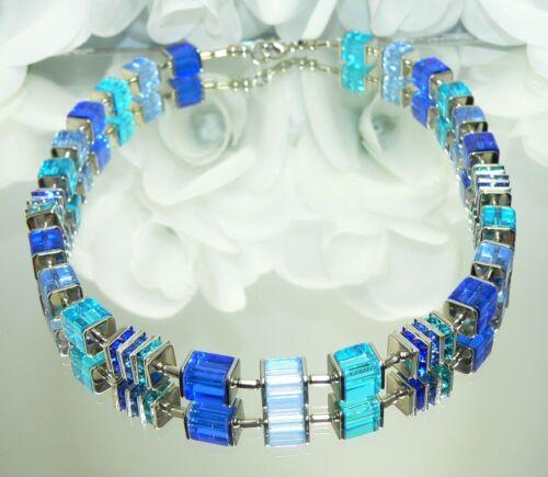 Würfelkette Halskette blau Cube Glas Strass hellblau türkis blau mehrfarbig 092i