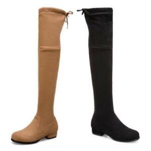 Europe Women Casual Block Heel Suede Fabric Overknee Long Boots Winter Autumn D