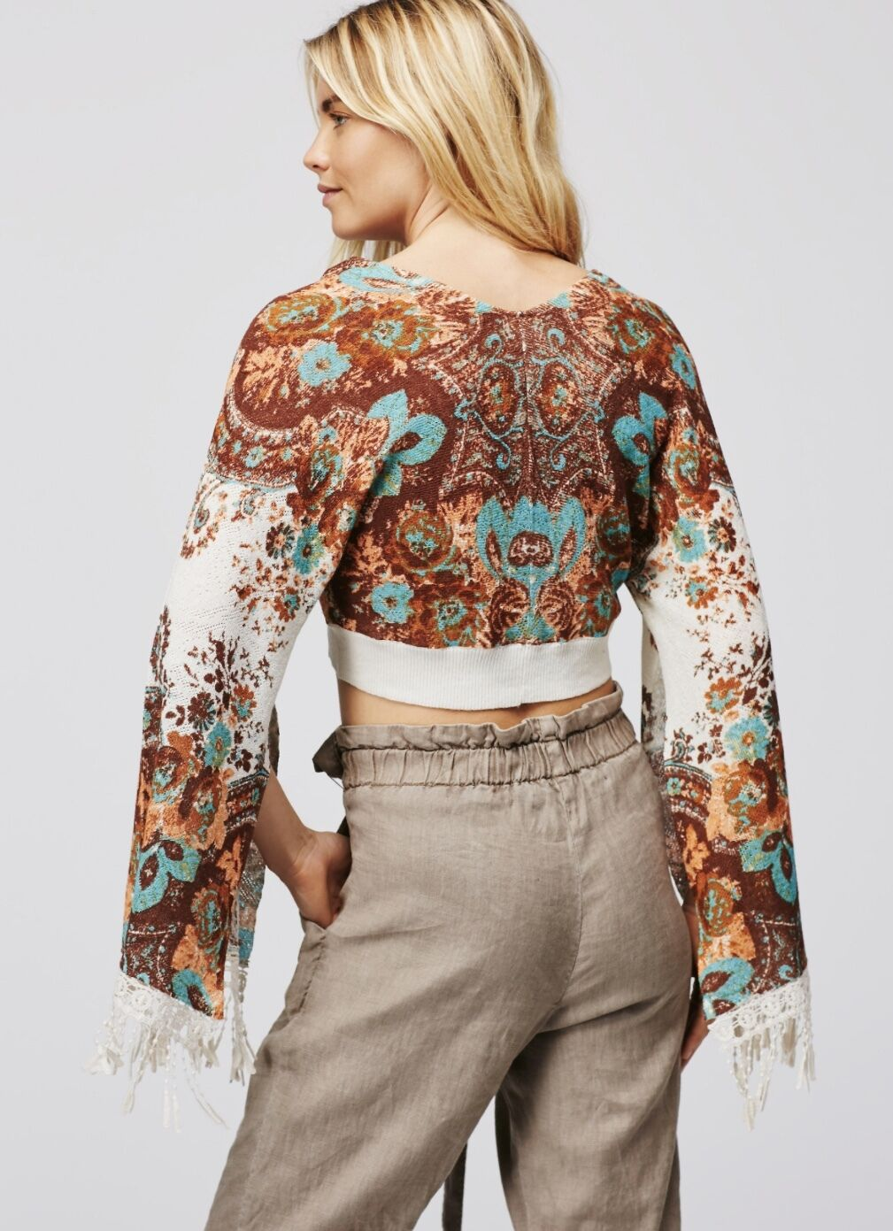 NEW Free People ivory ivory ivory brown turquoise Printed Cropped Sweater Bell Sleeves L b3e215
