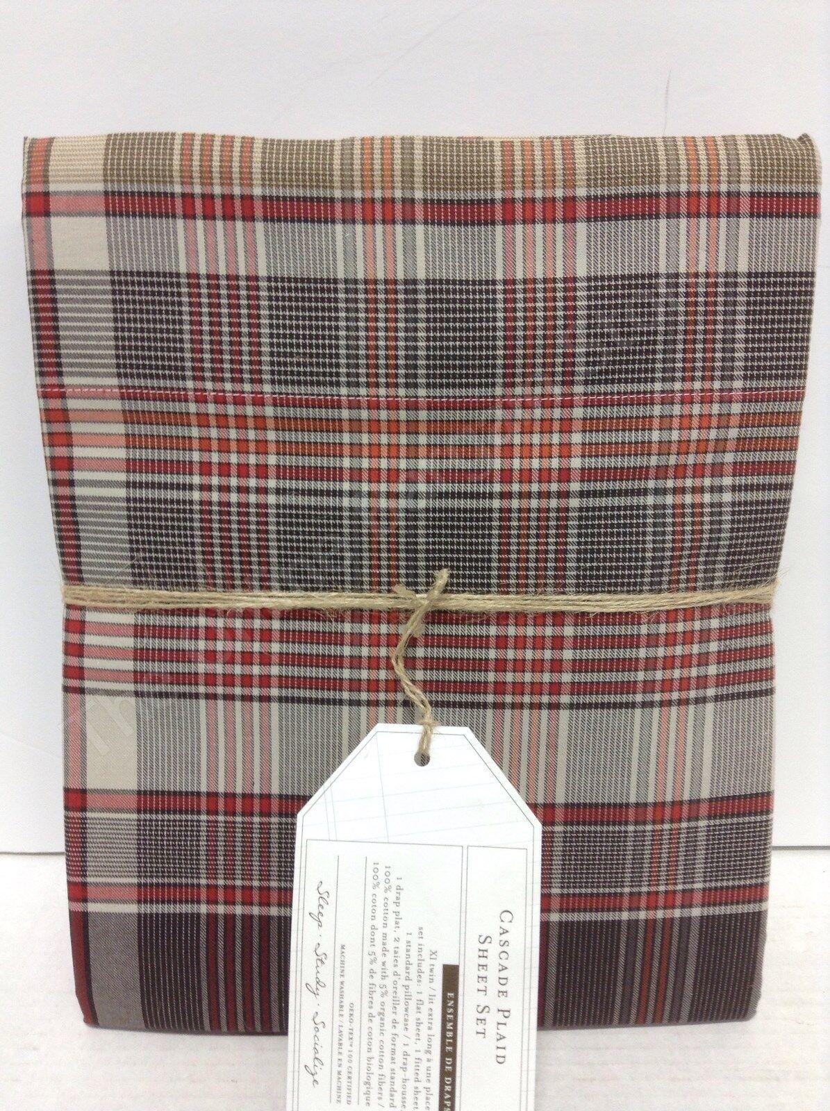 Pottery Barn Teen PBT Cascade Plaid Twin XL Sheet Set Brown Red Stripe Country