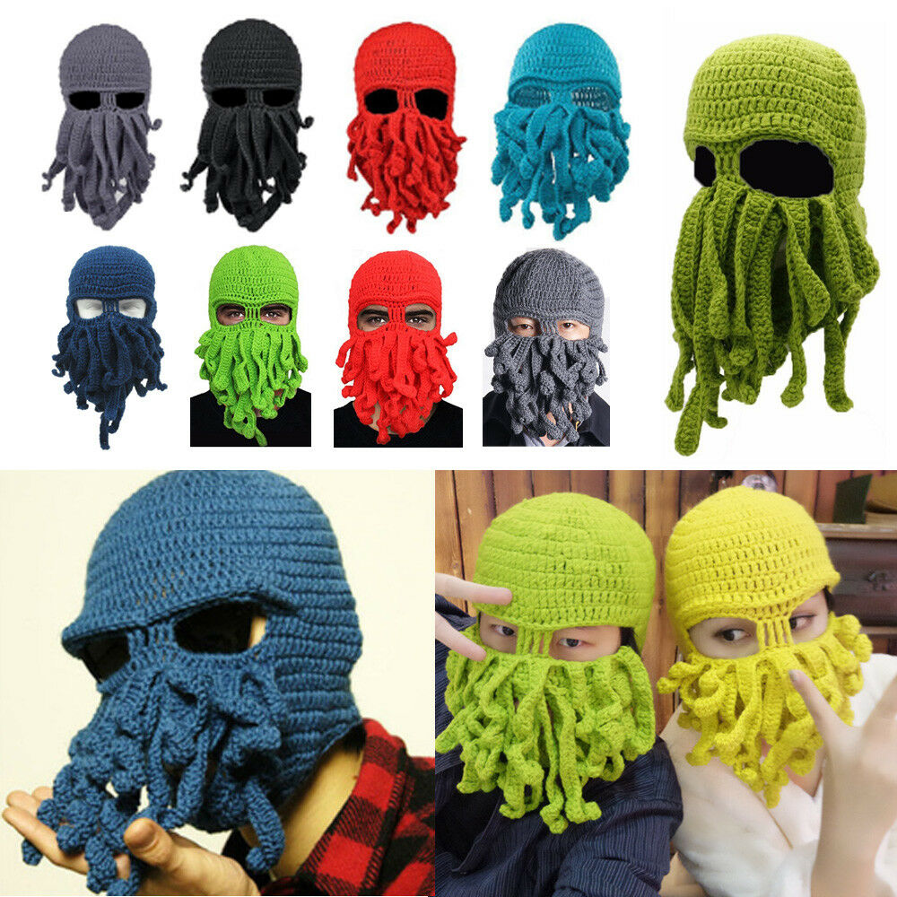 ed52ce02f4a Wind Tentacle Octopus Cthulhu Hat Ski Face Mask Novelty Unisex Knit ...