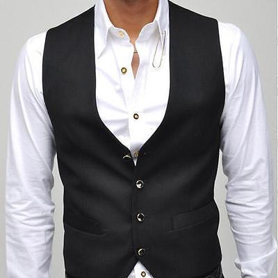 Men Casual slim FIT waistcoat Vest Waistcoat Business Vest tops Black