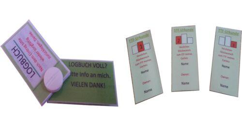 Geocaching-Startset für Cache, Logbuch und Urkundenset, laminierte Ausführung