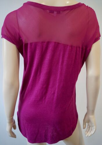 Panelled Sandro Hot Sleeve Top Sz2; Short Sheer Neck Pink Women's Scoop M YAwHrYq