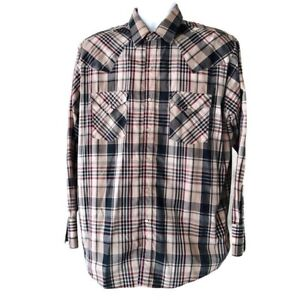 Plains-Western-Wearmens-Large-Long-Sleeve-Western-Shirt-With-Pearl-Snaps