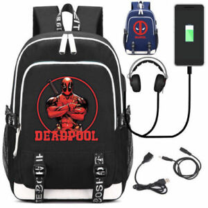 ce0b63dacdea Image is loading Deadpool-School-Backpack -USB-Charge-Interface-Laptop-Travel-