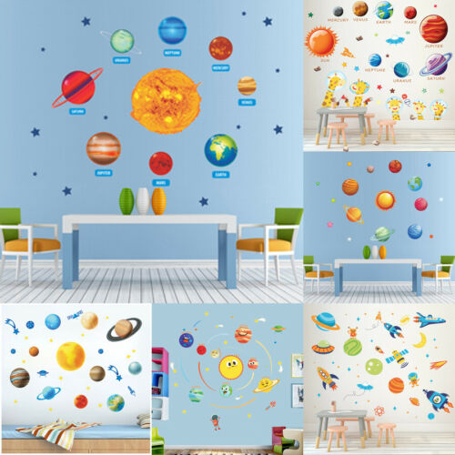 Solar System Wall Sticker Outer Space Planet Wall Decal Kids Room Bedroom Decor