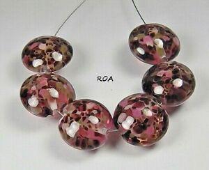 Lampwork Handmade Beads Black w// Pink Flower Lentil 6