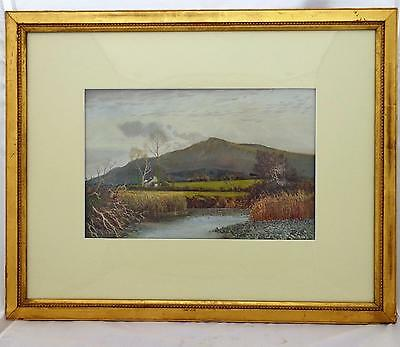 Antique Framed Watercolour Landscape Tor Near Tal Y Bont Wales T.C.Grant 1883