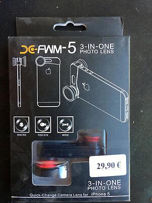 3-in-1 Objektiv (fisheye, Wide-angle, Macro) Für Iphone 5, Schwarz - Neuware - Noch Nicht VulgäR