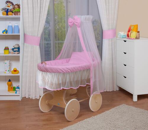 WALDIN Baby Bollerwagen,Stubenwagen,komplett mit Zubehör,XXL NEU !! Rosa//Weiß