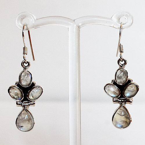 925 Silver Semi-Precious Natural Stone Moonstone Earrings
