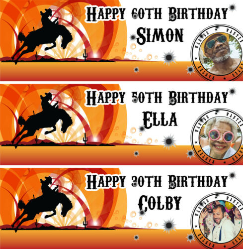 2 personalised birthday banner photo western cowboy adults children party poster