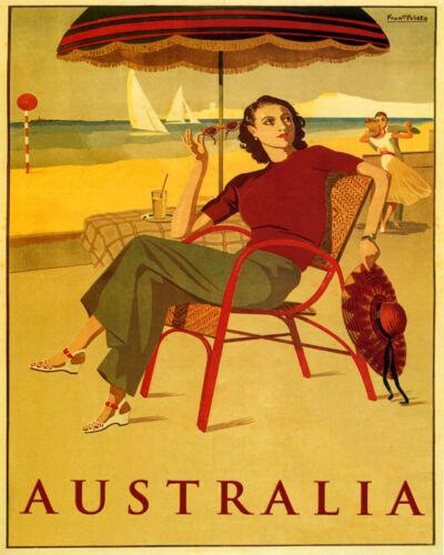 POSTER AUSTRALIA SUMMER TRAVEL BEACH SAILING DANCING VINTAGE REPRO FREE S//H