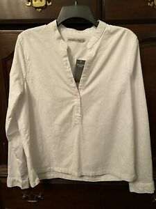 New-Abercrombie-amp-Fitch-L-Popover-Band-Collar-White-Shirt-Long-Sleeve-Stretch