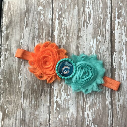 or adult sized headband bow toddler Miami Dolphins elastic infant