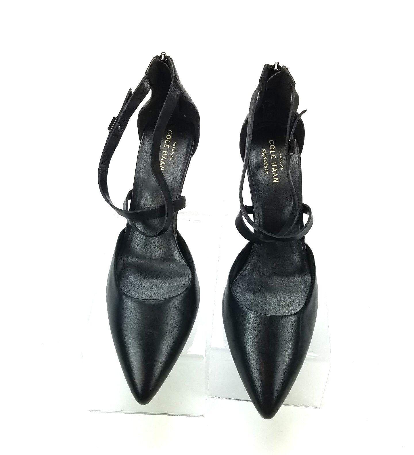 Cole Haan Signature Women Black Pointy Toe Strappy Heels 8B Zip back Heels