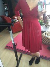 Elegante Vestido de flujo Rojo Tea Party Danza Tango Salsa Ballet Lycra