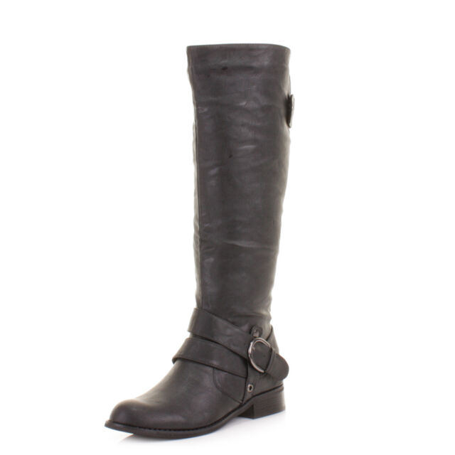 WOMENS BLACK LEATHER STYLE RIDING BIKER STRAP FLAT LADIES KNEE HIGH BOOTS SIZE