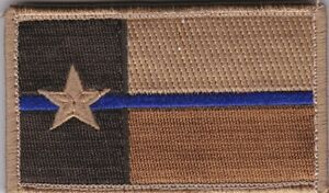 Texas Police Blue Line Flag patch full hook brown//desert NOT FROM CHINA!!