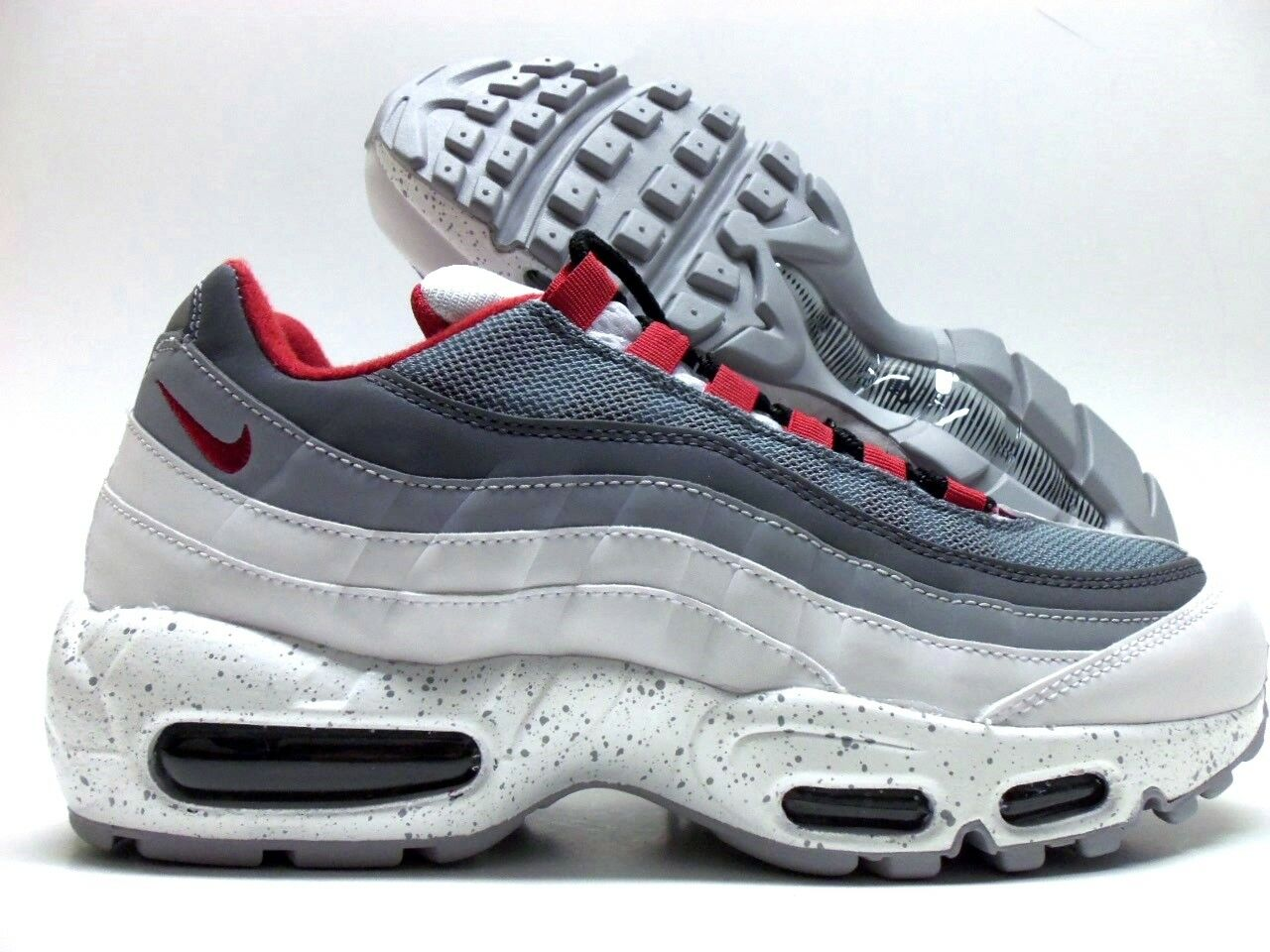 NIKE AIR MAX 95 ID WHITE/COOL GREY-DARK GREY-RED SIZE WOMEN'S 9 Price reduction Seasonal clearance sale