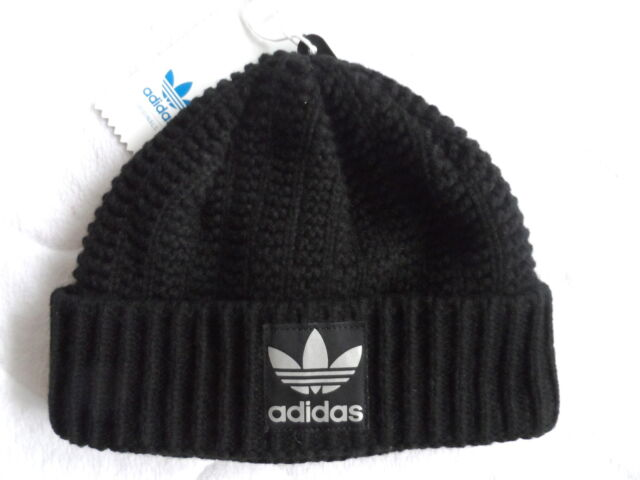 WOMENS ADIDAS HEAVY KNIT Black CHUNKY RIB CUFF BEANIE HAT OSFW New Tags A10 eb2389fa6a