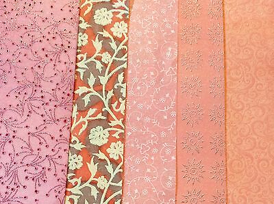 5 sheets A4 GLITTER PATTERNED Fabric Paper shades of  PINK 4 DIY Card & Crafts