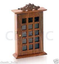 "Wooden KeyBox ✿ Key Hanger Box ✿  Checks design ✿ 11x7""~ Sheesham Wood brass wrk"
