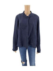 Eileen-Fisher-Womens-Jacket-Size-M-Tweed-Cotton-Linen-Blue-Button-Down-Blazer-P1