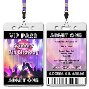 Details About Disco Dance Personalised Vip Lanyard Birthday Invitation