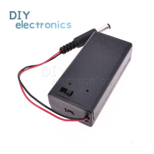 9V Volt PP3 Battery Holder Case Box ON//OFF Switch Cover DC 5.5//2.1mm Plug