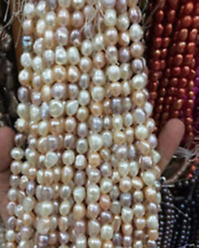 """8-9mm Water White pink purple Freshwater Cultured Pearl Loose Beads 13/"""" T9978"""
