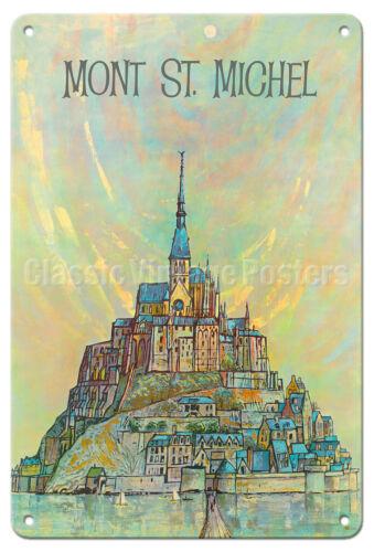 Mont St Normandy 1960s Vintage Travel Poster Metal Tin Sign France Michel