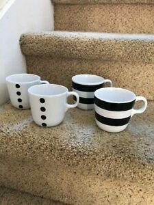 Ikea Ungdom Set Of 4 Coffee Mugs Black White Striped Dotted Ebay