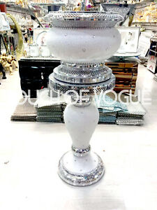 Silver-Pearl-Glitter-Mirrored-Table-Flower-Vase-Stand-Bed-Side-Romany-Mosaic