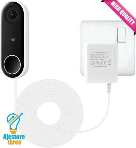environ 4.88 m Bloc d/'alimentation vidéo sonnette Adaptateur d/'alimentation nid Hello haute qualité blanc 16 Ft
