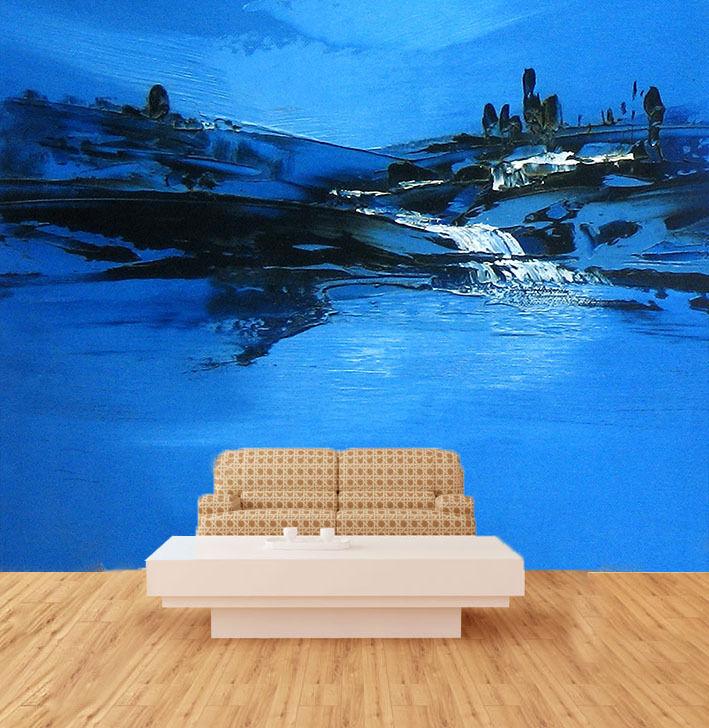 3D Der Blaue AQUARELLE 645 Fototapeten Wandbild Fototapete BildTapete Familie DE