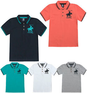Boys-T-Shirt-Horse-Embroidery-Polo-Cotton-Top-Age-2-3-4-5-6-7-8-9-10-11-12-13-Yr