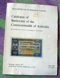 Catalogue Of Banknotes Of The Commonwealth Of Australia Max Stern Auction 1977 Ebay