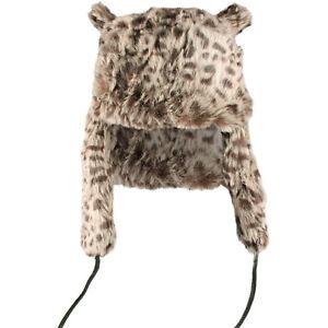 457556b4070 CAT EAR HAT ANIMAL PRINT FURRY TRAPPER HAT LADIES GIRLS WINTER HAT ...