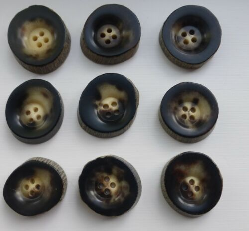 Genuine Real Horn Buttons 5//6mm Thick Colour Dk Brown Size 2.5-3 cms