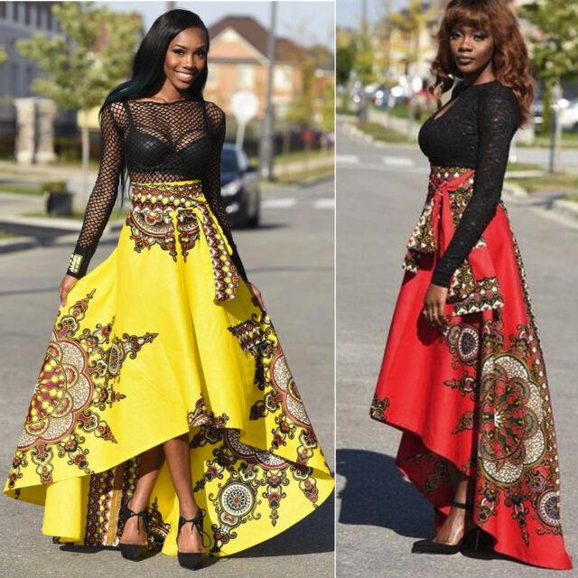 Women African Printed Summer Boho Long Dress Cocktial Evening Party Maxi Skirt