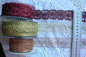 Metallic-Crochet-Lace-30-35mm-Wide-2-amp-3-Metres-2-Styles-amp-3-Colour-Choice-AR7