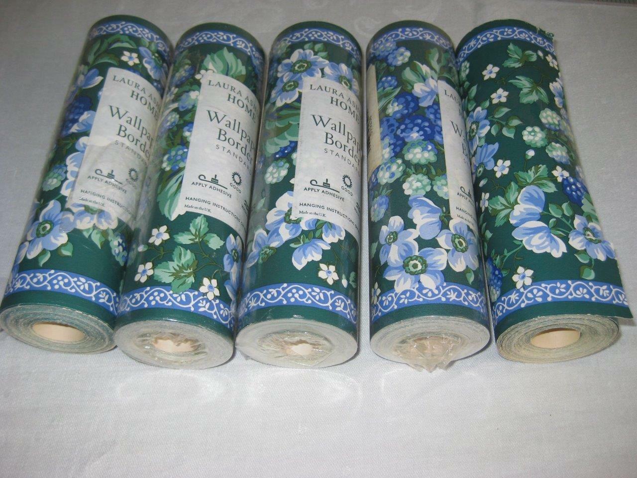 Laura Ashley Bramble Sapphire Wallpaper Boarder 5 Rolls Retired Rare 11Yds Each
